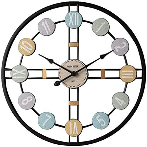 Yxxc Horloge murale, horloge murale en fer silencieux horloge murale personnalité décorative horloge artisanale de Mode Pour hôtel de Salon, Bordure en or Champagne, horloge murale 24 p
