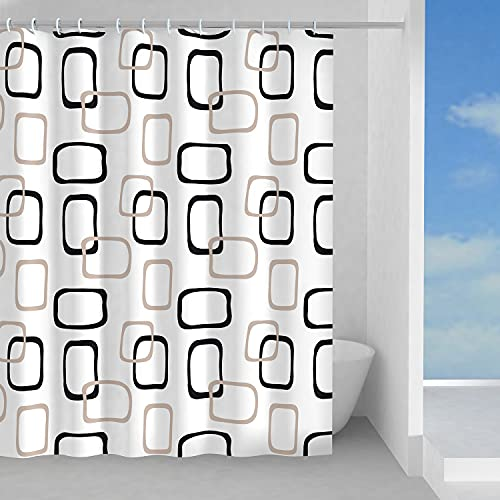 GEDY G-Piper Duschvorhang, 240 x 200 cm, aus PES, 100 prozent wasserdicht, beige & schwarz, Design RundS Gedy, Duschvorhang mit 12 Ringen, 2 Jahre Garantie