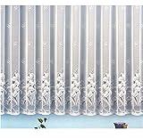 Gardine Vorhang Jacquard Store mit Bleiband für schönen Fall weiß schönes Blumenmuster allover mit Kräuselband / Universalschienenband HxB 100x300 cm für Fensterbreite 100-135 cm TOP...