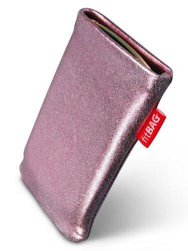 fitBAG Groove Pink Handytasche Tasche aus feinem Folienleder Echtleder mit Microfaserinnenfutter für ASUS M930