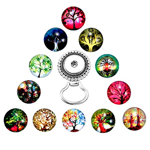 MJartoria Interchangeable Tree of Life Snap Buttons Centerpiece Eye Glass Holding Magnetic Brooch (A-colorful)