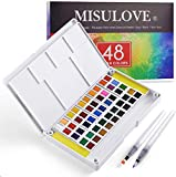 MISULOVE Watercolor Paint Set for Adults with 48 Premium Paints, 2 Refillable Brushes, 8 Sheets of Water Color Paper, Travel Watercolor Set, Perfect for Students, Kids, Beginners and More
