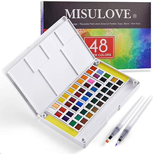 MISULOVE Watercolor Paint Set, 48 Premium Colors, 2 Refillable Brushes, 8 Sheets of Water Color Paper, Richly Pigmented Portable Art Painting, Perfect for Students, Kids, Beginners and More