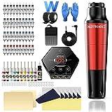 Tattoo Pen Kit Wormhole Cartridge Tattoo Kit for Beginners Rotary Tattoo Machine Pen Professional Complete Tattoo Kit(TK108) (Red)