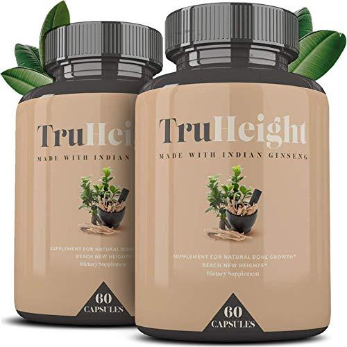"Height Growth Formula - Grow Taller Supplement - Supplement for Natural Bone Growth - Height Pill - Keto & Vegan with Indian Ginseng""Ashwaganda"" & Nanometer Calcium - TrueHeight (60ct) 2 Pack"