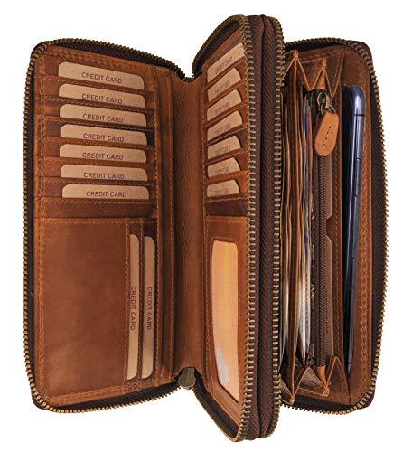 Hill Burry Leder Reisebrieftasche | Dokumententasche - Travel/Wallet aus naturgegerbtem hochwertigem Rindsleder | Organizer/XXL Mappe | Geldbörse Portmonee Portemonnaie (Braun)