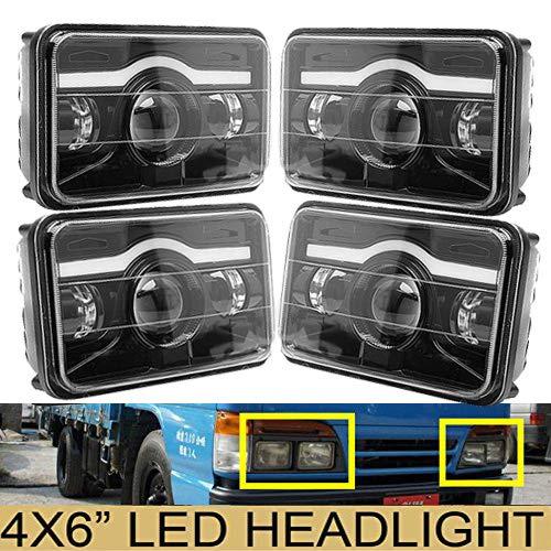 4X6' Sealed Beam LED Headlights Amber Light for Isuzu NQR NPR NPR-HD GMC, H4651 H4642 H4652 H4656 H4666 H4668 H6545 Conversion Kit Sealed Beam Super Bright High Low Beam Headlamps - 4PCS