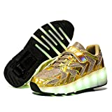 qyy Kids Roller Skate Shoes with Single Wheel Shoes Sport Sneaker Led Rechargeable Retractable Flashing Sneakers for Unisex Girls Boys Beginners GiftGold-USA 6