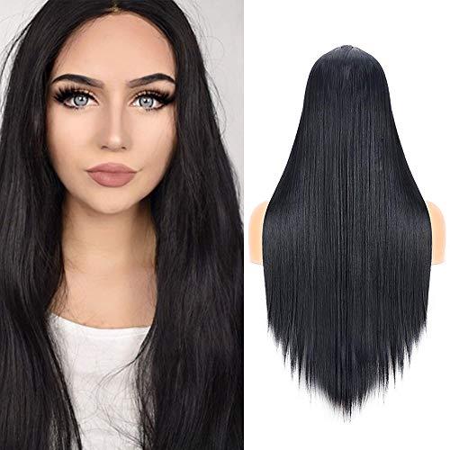 Noir des Perruques droites pour femme, 61 cm de long Perruque Naturel partie du milieu Cheveux synthétiques