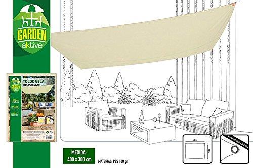 Aktive Garden 53917 - Toldo Vela para Jardín Color Crema 200 x 300 cm