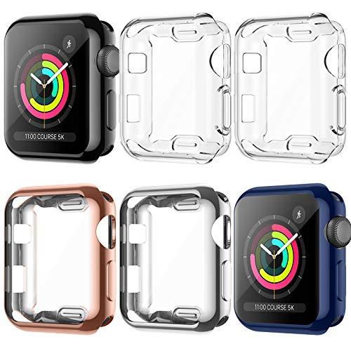 LORDSON [6 Stücke] Hülle Kompatibel mit Apple Watch Series 3 / 2 / 1 38mm Schutzhülle, TPU Vollständige Abdeckung Schutz Kratzfest Schutzfolie Kompatibel mit iWatch Series 3/2/1 (38mm)