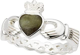 Biddy Murphy Womens Claddagh Ring Sterling Silver & Connemara Marble Irish Made