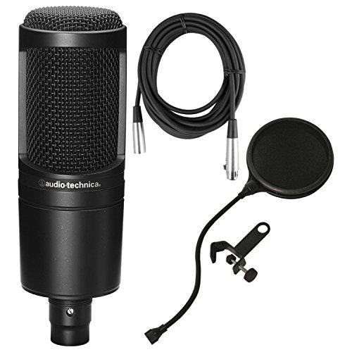 Audio-Technica AT2020 Micrófono de estudio condensador cardioide con filtro pop y cable de micrófono