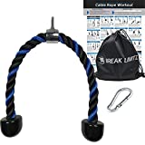 Break Limitz Blue Tricep Rope Pull Down | 36 Inch Heavy Duty Nylon Rope, Chrome Cable Attachment for Professional and Home Gyms | Includes Workout Poster, Snap Hook & Carry Bag (36)