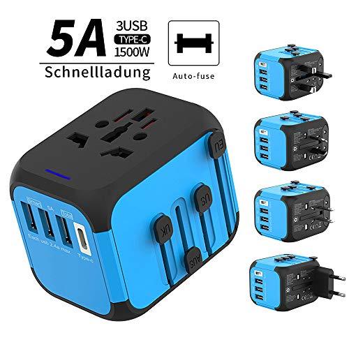 Masomrun Reisadapter wereldwijd voor 224 landen, voor Europa, Engeland, VS, Azië, stroomadapter, met 3 USB-poorten + 1 AC-stopcontact met LED-display, automatisch herpair the Fuse.