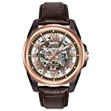 Bulova Men's Mechanical Hand Wind Stainless Steel and Leather Dress Watch, Color:Brown (Model: 98A165)