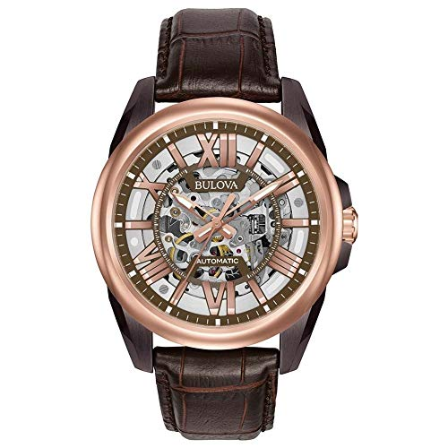 Bulova Classic Automatic Mens Stainless Steel with Brown Leather Strap, Two-Tone (Model: 98A165)
