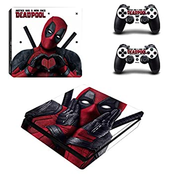 Decal Moments PS4 Slim Console Skin Set Vinyl Decal Sticker for Playstation 4 Slim Console Dualshock 2 Controller Deadpool  PS4 Slim Only