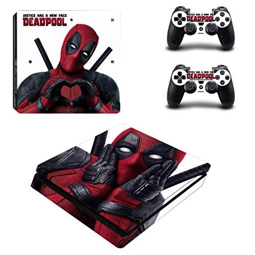 Adventure Games - PS4 SLIM - Deadpool - Playstation 4 Vinyl Console Skin Decal Sticker + 2 Controller Skins Set