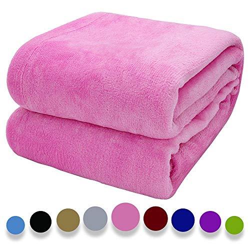 Arkham Flanell Fleecedecke Kuscheldecke Rose Pink Heimdecke, Flauschige Decke Warmes Bettsofa und Haustier Werfen, Exquisiter Komfort Rose Pink Flanell Fleecedecke 150X200CM