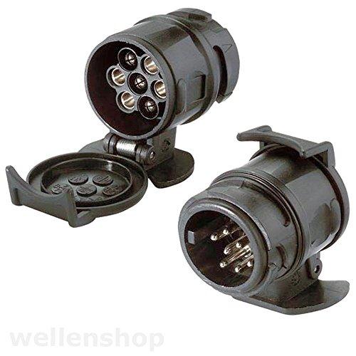 wellenshop Adapter für Anhängersteckdose 13 auf 7 polig Anhängerdose Kabel Dose Stecker Verbindung Anhängerkupplung Anhänger Trailer