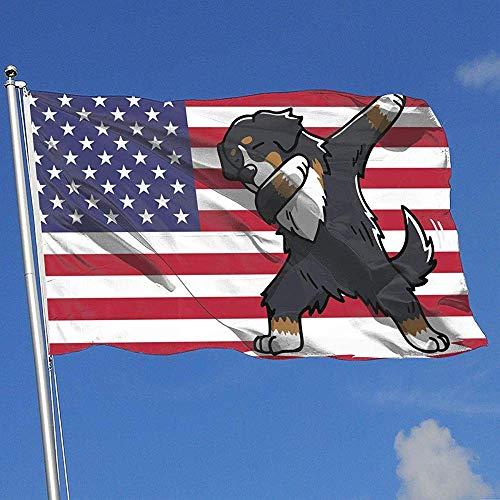 wallxxj Fahne Betupfen Berner Sennenhund Brise Flagge Yard Banner Single Layer Yard Flagge Garten Flagge Yard Flagge 150X90Cm
