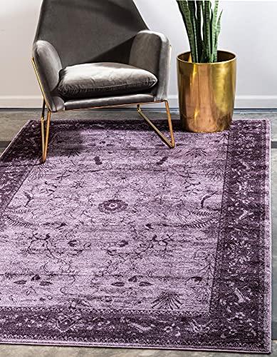 Unique Loom La Jolla Collection Tone Traditional Area Rug, 4 x 6 Feet, Violet/Dark Purple