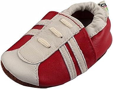 LSERVER Zapatos de bebé de Cuero Suave Pantuflas Infantiles Patuco de Suela Suave, Cordón Rojo, XL (18-24 Meses)