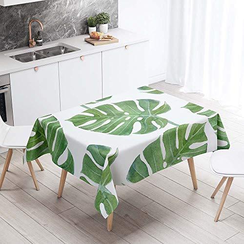 Mantel para Mesa Impermeable Antimanchas, Chickwin Cocina Comedor Rectangular Resistente al Desgaste Lavable Mantel de Poliester Hojas Tropicales Patron 3D (Hoja de banana,140x260cm)