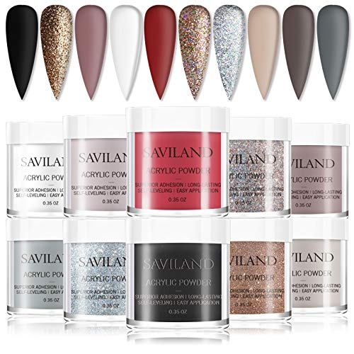 Saviland Acrylic Powder Set with 10 Brown Grey Glitter Polymer Nail Powder Kit colored Acrylic Powder for Nail Extension