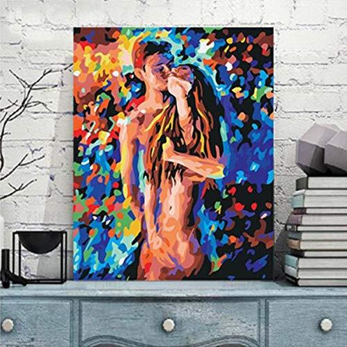 Pintar por Numeros Adultos Niños, DIY Pintura, Besando pareja desnuda - Con Marco de Madera - 40x50cm