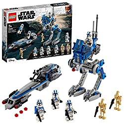Launch epic battles with the BARC Speeder, featuring the authentic blue and white 501st Legion colour scheme and 2 stud shooters The AT-RT Walker has posable legs, stud shooter, attachment points for a blaster and electrobinoculars element, plus a ne...