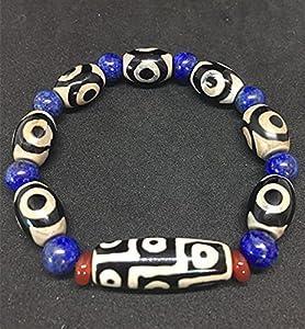 JIUXIAO Tibet Dzi Armband mit Lapislazuli-Perlen 9 Augen und 3 Augen Dzi-Perlen-Stein Große Qualität bringen Glückssteine ????freies Schiff
