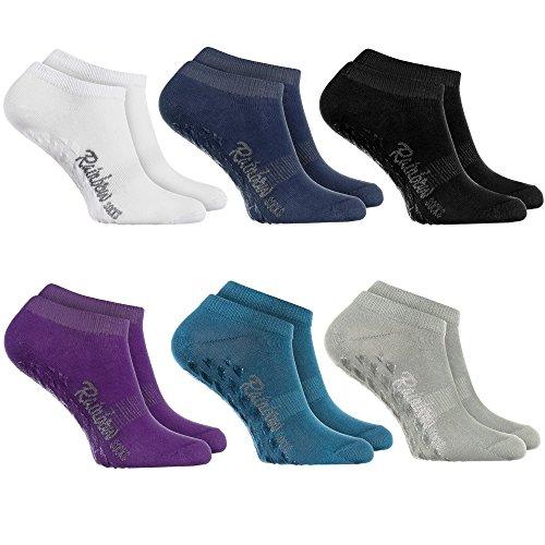 Rainbow Socks - Damen Herren Sneaker Antirutsch Socken ABS - 6 Paar Dunkle Farben - Größen: EU 36-38