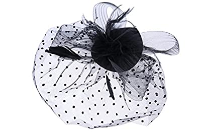 VGLOOK Feather Net Clip Hat Fascinator Wedding Ladies Day Race Royal Ascot