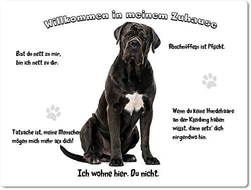 Merchandise for Fans Blechschild/Warnschild/Türschild - Aluminium - 20x30cm - - Willkommen in Meinem Zuhause - Motiv: Cane Corso/Italienischer Mastiff schwarz - 03