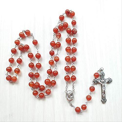 Minekkyes Piedra Natural Cruz Rosario Collar Rojo Cuentas Cadena De Hilo con Colgante De Cristo Religioso Joyería Regalo A Las Mujeres 80Cm