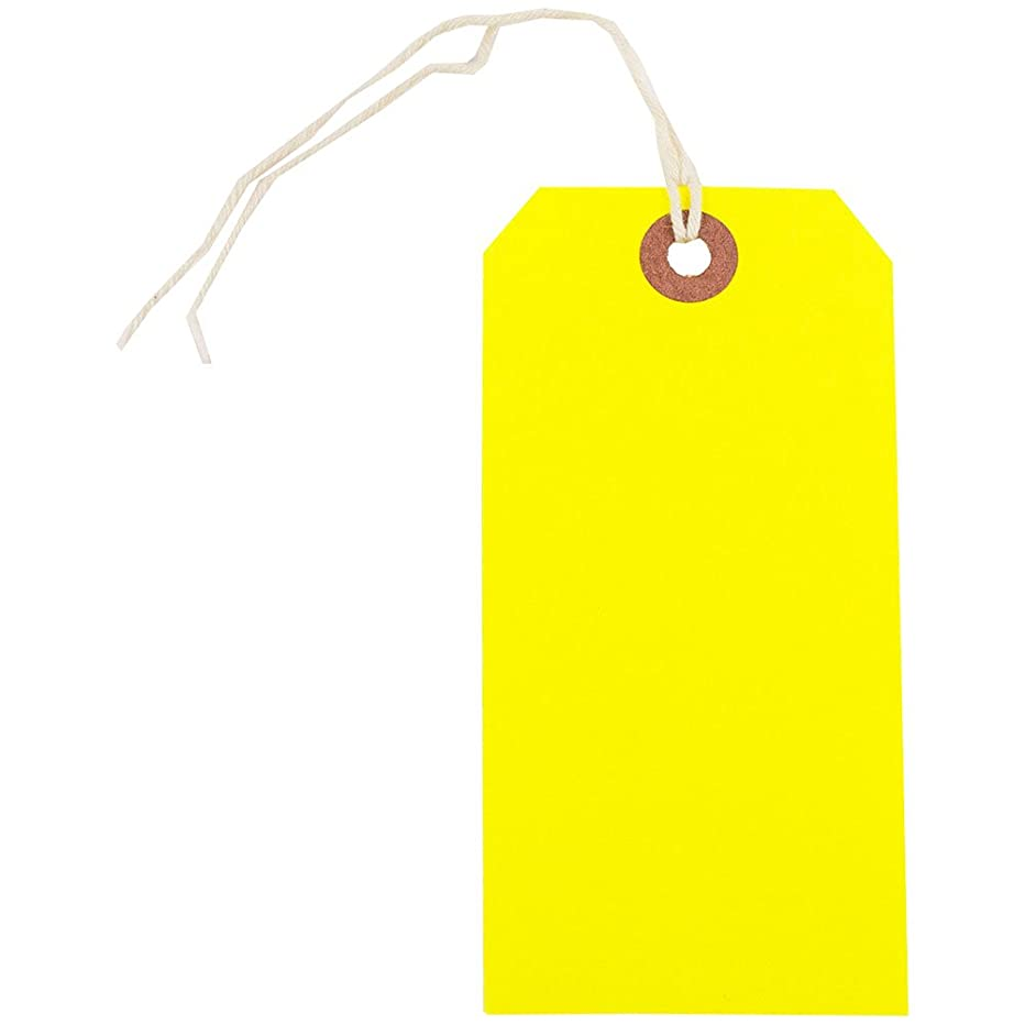 JAM PAPER Gift Tags with String -Medium - 4 3/4 x 2 3/8 - Neon Yellow - Bulk 100/Pack