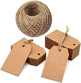 100PCS Étiquettes Papier Kraft Étiquette Cadeau Kraft 7x4cm pour Mariage/Noël/Anniversaire, Artisanat, Bagages, avec 30M F...