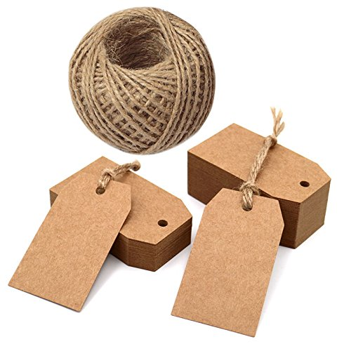 100PCS Kraft Paper Tags,7X4CM Brown Gift Tags Blank Hang Tags with 30M Jute Twine for Christmas Party Decorations and DIY Crafts