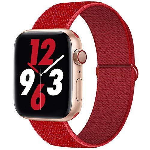 Qunbor Cinturino Compatibile con Apple Watch 38mm 40mm 42mm 44mm per iWatch Series 6 5 4 SE 3 2 1 Edition, Sport Nylon Intrecciato Loop Tessuto Regolabile Ricambio Flessibile Stoffa, Rosso