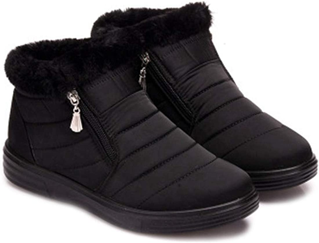MISTU Women's Winter Warm Fur Snow Ankle Booties Lightweight Zipper Waterproof Rain Outdoor Snow Short Boots