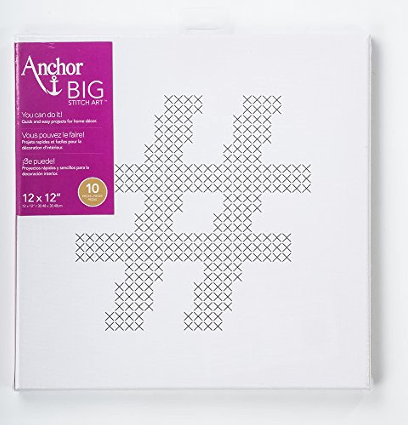 Anchor Big Stitch Counted Cross-Stitch Kit w/ Embroidery Floss Hashtag, 12