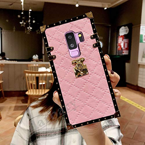 Galaxy S9 Plus S9+ Grid Plaid Case,SelliPhone Luxury Design Cute Slim Diamond Lattice Soft TPU Trunk Case,Unique Women Girls Lady Phone Skin for Samsung Galaxy S9 Plus(2018),Pink