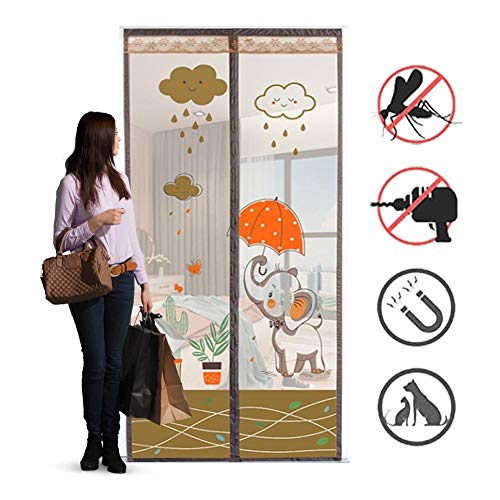ROYWY Magnetic Fly Screen Door,Anti-Mosquito Curtain,Super Quiet Stripes Encryption,Keep Bug Out Let Fresh Air in for Balcony Sliding Living Room Children's Room/A / 110 * 220CM