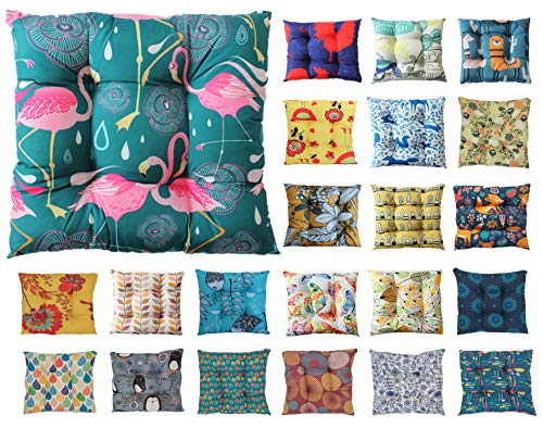 Tropik home Colourful Seat Pads, Garden Kitchen Chair Cushion Tie On Many Colours (Flamingos)