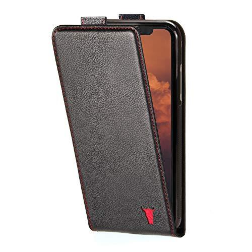 TORRO Vertikale Klapphülle Kompatibel Mit iPhone 12 & iPhone 12 Pro - Hochwertige Lederhülle Mit Karten Steckfächern [MagSafe Kompatibel] [Strapazierfähiger Rahmen] (Schwarz)