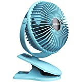 BESKAR Portable Clip on Stroller Fan 10000mAh Rechargeable Battery Operated Clip for Desk Fan with Max 40H Working Time,3 Speeds,Ultra Quiet Mini USB Fan for Golf Cart Office Camping
