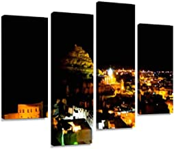 night Panorama of old city Shali and mountain Dakrour, Siwa oasis, Canvas Print Artwork Wall Art Pictures Framed Digital Print Abstract Painting Room Home Office Decor Ready to Hang 4 Panel