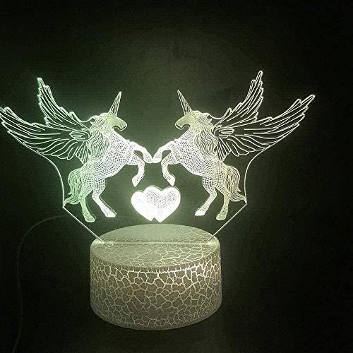 Juguete De Luz Nocturna 3D Lámpara De Ilusión Remota 3D Escritorio El Unicornio Pegaso Animal Lámpara 3D Funciona Con Pilas Regalo De Cumpleaños Lindo Para Niños Lámpara De Luz Nocturna Led Con Hologr